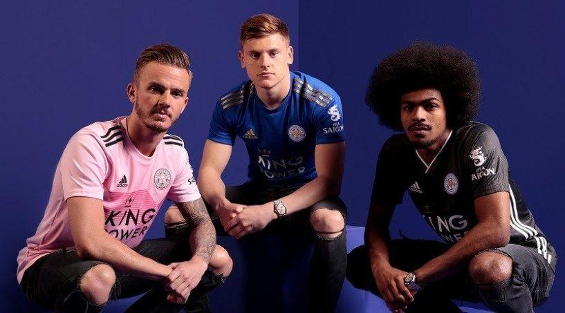Leicester uniforme camisa rosa cinza azul