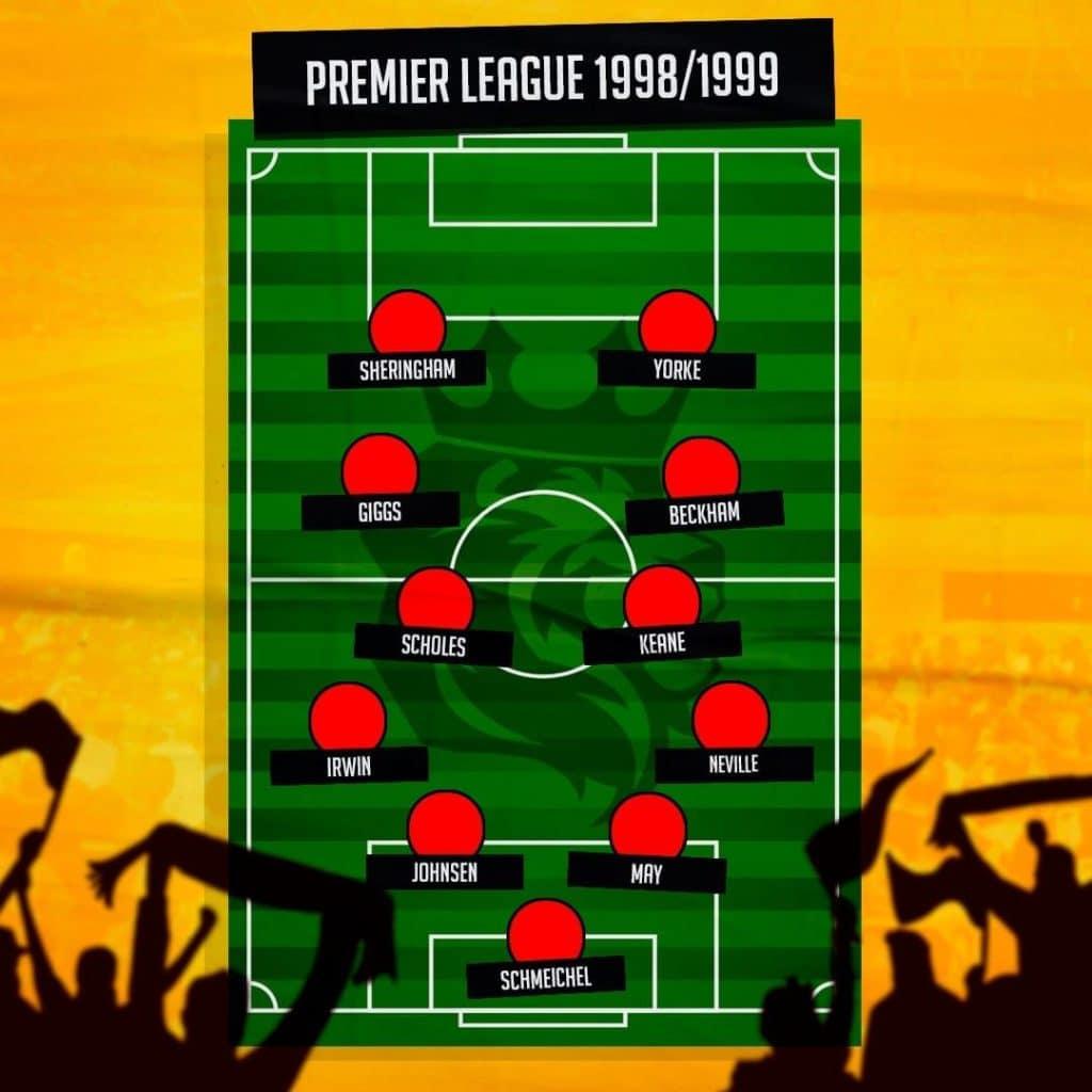 Manchester United campeão 1999 escalação ficha Premier League