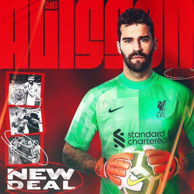 Alisson renova com Liverpool