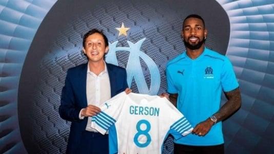 Gerson sendo apresentado no Marseille